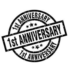 1st anniversary round grunge black stamp vector