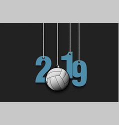 2019 new year and volleyball hanging on strings vector image