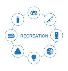 8 recreation icons vector