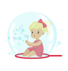 Adorable little girl blowing bubbles while sitting vector