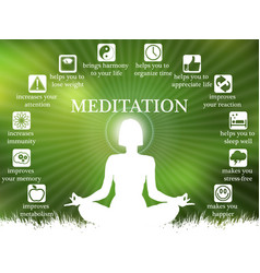 advantages and profits of meditation infographic vector image