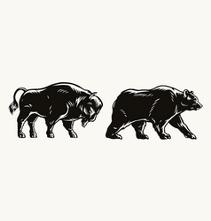 american bison and bear concept vector image