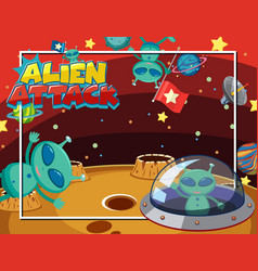 Background scene with alien and ufo flying in vector
