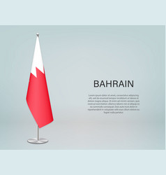 Bahrain hanging flag on stand template vector