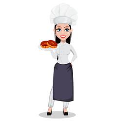 Beautiful baker woman in professional uniform vector