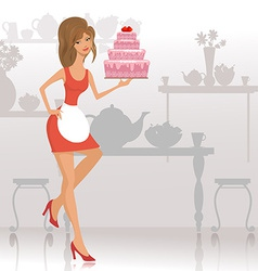beautiful woman with a cake in the restaurant vector image