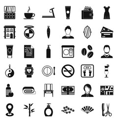 beauty salon icons set simple style vector image