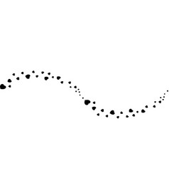 Black hearts confetti wave or flow isolated on vector