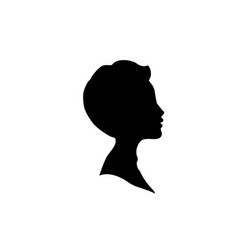 black profile silhouette of young boy or man head vector image