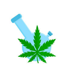 Bong and cannabis weed leaf flat vector