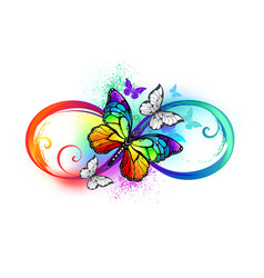Bright infinity with rainbow butterfly vector
