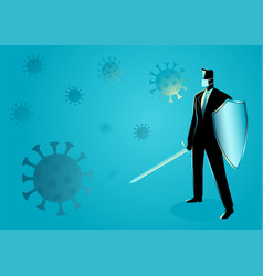 Businessman holding a sword and shield precaution vector