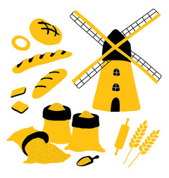 cartoon bakery set with bread mill flour wheat vector image