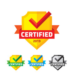 Certified badge with shield ribbon and checkmark vector