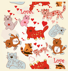 childish seamless wallpaper pattern with cute cats vector image
