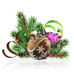 Christmas decorations with pine branches and vector