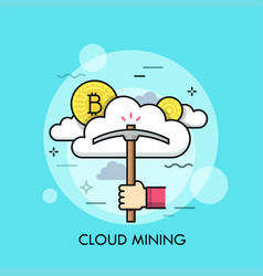 cloud mining thin line concept vector image