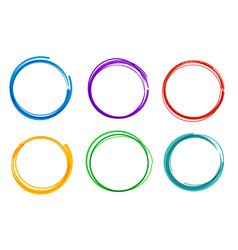 colorful hand drawn circle set collection ring vector image