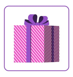 Colorful wrapped gift box icon pink vector