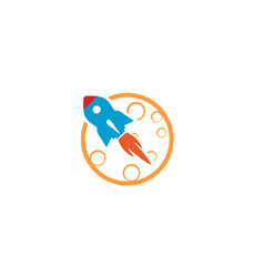 creative blue rocket planet moon logo vector image