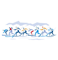 Cross-country skiing competition vector