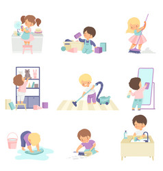 cute adorable kids doing housework chores at home vector image