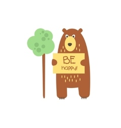 Cute bear with a sign for text vector
