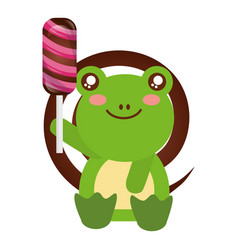 cute frog sweet candy lollipop vector image