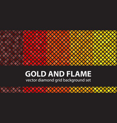 Diamond pattern set gold and flame seamless vector