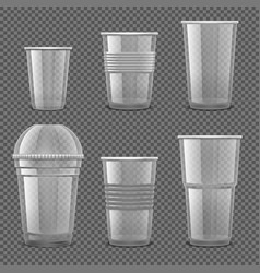 empty transparent plastic disposable cups vector image