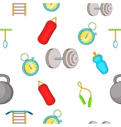 Exercise in gym pattern cartoon style vector