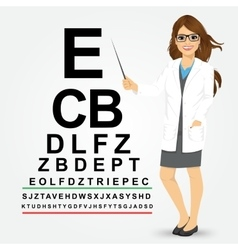 female optician pointing to snellen chart vector image
