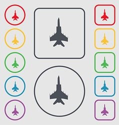 Fighter icon sign symbol on round and square vector
