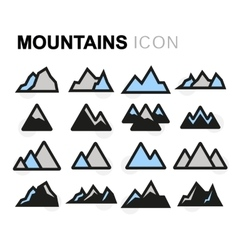 Flat mountains icons set vector
