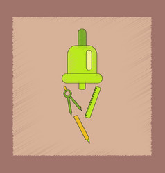 Flat shading style icon bell pencil ruler vector