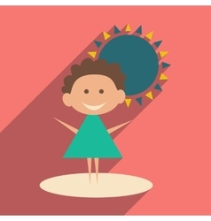 Flat with shadow icon and mobile application baby vector