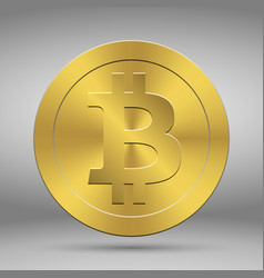 Gold coin with bitcoin symbol cryptography vector