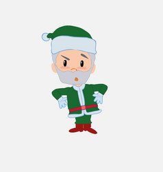 Green santa claus with an expression of vector