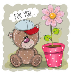 Greeting card teddy bear with a flower vector