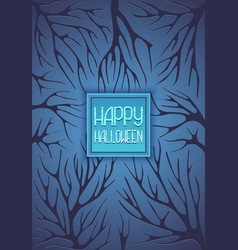 halloween background with tree branches dark blue vector image