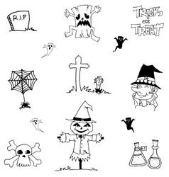 Halloween doodle scarecrow zombie witch vector