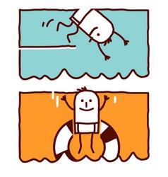 hand drawn cartoon characters - diving jumping vector image