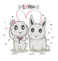 hand drawn cute rabbits with heart vector image