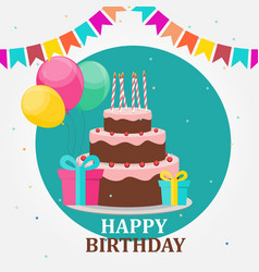 happy birthday card party background with cake vector image