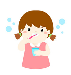 Happy girl brushing teeth cartoon vector