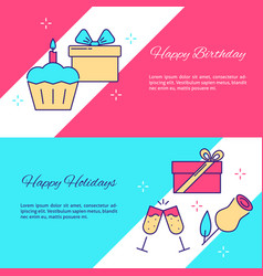 holidays celebration flyer templates in line style vector image