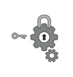 Icon concept gears with padlock keyhole and key vector