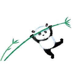 Jumping panda on bamboo vector