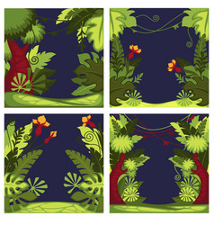 jungle forest with flora plants at night set vector image