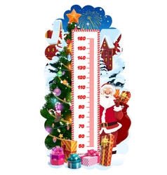 Kids height chart with christmas tree and santa vector